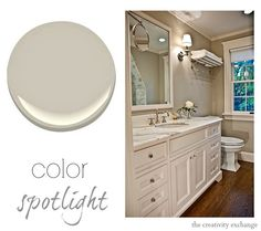 Revere Pewter by Benjamin Moore is the most popular paint color today because it's so versatile. Link to various spaces painted in Revere {Color Spotlight} The Creativity Exchange benjamin moore bathroom colors, popular paint color, interior paint colors, popular bathroom paint colors, color spotlight, master baths, rever pewter, benjamin moore color, exterior paint colors