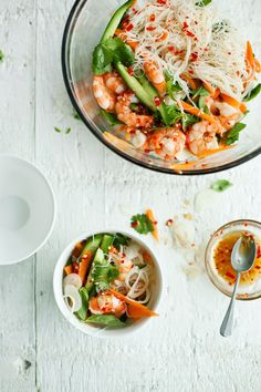 Vietnamese prawn with carrot and cucumber