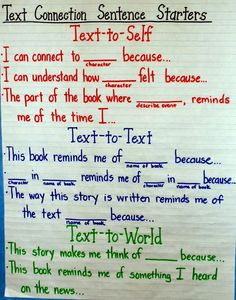 Connection Sentence Starters- anchor chart