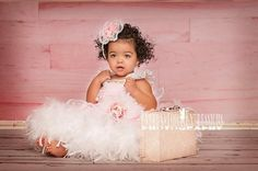 Sweet Angel Girls Feather Rosette Dress
