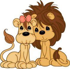 lion, clipart, card, precious moment