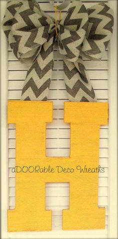 Initial Door Hanger. I love the patterned ribbon and solid letter! So simple to make!