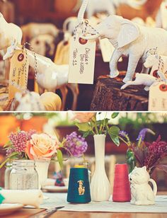 Love this idea, painted plastic dollar store animals cream and used them as placecards.