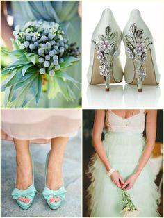 Zapatos, ramo, faldas, todo puede combinar la temática | Complementos de #Trajes de #Novia en verde menta #bodas #menta #weddings