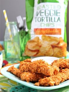 Crispy Chicken Tenders {using crushed Green Giant Roasted Veggie-Cheddar Chips!}