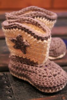 Crocheted baby cowboy booties. Fit my baby boys down the road.