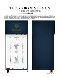Bookmark with 30 Day reading schedule for The Book of Mormon