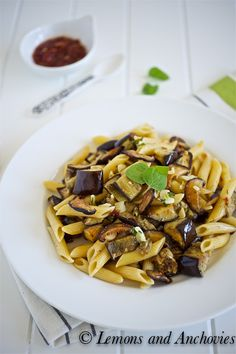 Penne with Roasted Shiitake Mushrooms, Eggplant and Sambal--an Asian-inspired pasta dish