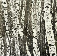 """5-Point's Trees"" linocut/woodcut by Hannah Skoonberg. www.skoonberg.com. Tags: Linocut, Cut, Print, Linoleum, Lino, Carving, Block, Woodcut, Helen Elstone, Trees, Winter."