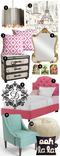 Perfect collection of furniture and accessories to make a Glam parisian bedroom. Pink tufted headboard. Mint green side chair. Faux fur ottoman. Antique distressed dress. Gold mirror. Parisian artwork. Black and white