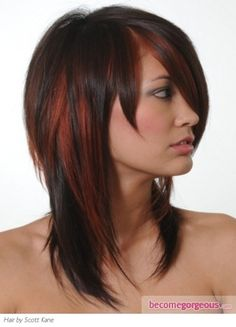Pondering.... pondering... dark brown hair with bold red streaks, yes I think I shall go for this at my next hair appt. color combo, hair colors, red hair, natural colors, hairstyl, brunette hair, hair highlights, brown hair, red highlights