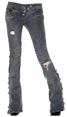 Balmain destroyed biker jeans
