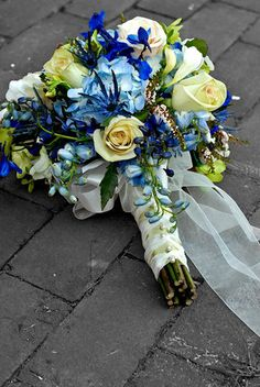 double blue and gold bouquet