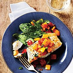 Pan-Seared Halibut with Bell Pepper Relish | MyRecipes.com