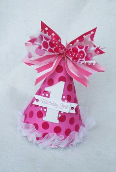 Perfect Pink 1st Birthday Party Hat for a Little Girl :)))$)