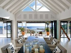 To ensure the ocean is always in view, walls of folding doors connect the living space to wide balconies. Jazz up a traditional dining room table with numbered throw pillows in striped slipcovered chairs.