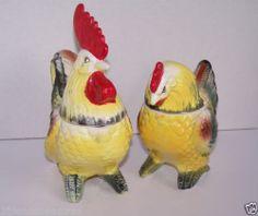Rooster Chicken Salt Pepper Sugar Bowl Creamer 4 PC Set Vintage Colorful   eBay