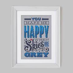 Happy when Skies are Grey - Cross Stitch Pattern (Digital Format - PDF) - $14.52
