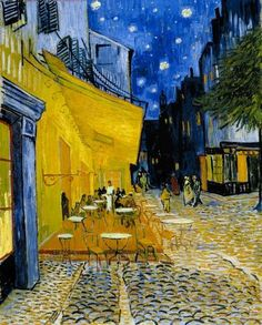 """Vincent van Gogh, """"Caféterras bij nacht (Place du Forum) / Terrace of a café at night (Place du Forum)"""" c. 16 September 1888"""