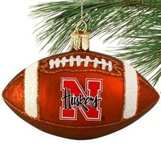 Nebraska Cornhuskers Glass Football Ornament