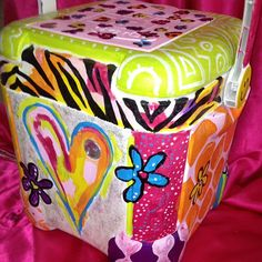 Teen Accessory  Whimsical Chevron Painted Cooler by unsophisticatedart