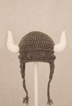 Viking Earflap Hat Grey Crochet Beanie