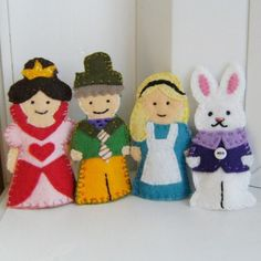 Alice in Wonderland Finger Puppet Set in Wool Felt
