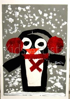 Kids Artists: Chilly penguin  *Cute with different patterned paper for muffs and scarf