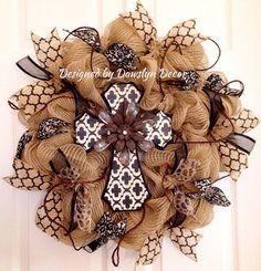 Cross Wreath, Fall Wreath, Burlap Wreath, Deco Mesh Wreath, Rustic Wreath, Black and White Wreath