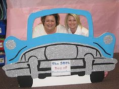 50th day of school car made out of foam board, paint, and glitter.