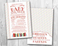 Book Themed Baby Shower Invitation- Primary Colors (DIGITAL FILE ONLY)