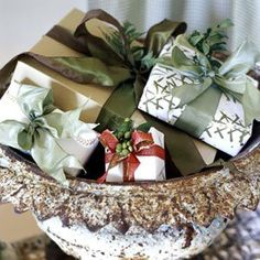 little presents displayed in a vintage urn