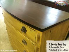 Harmony Girl Charm, https://www.facebook.com/pages/Harmony-Girl-Charm/699910813382360?fref=ts, gave this dresser top a rich new color with General Finishes Java Gel Stain.You can buy General Finishes products at www.woodcraft.com, www.rockler.com, Amazon and limited selections at www.leevalley.com in Canada. Or use your zip code to find a retailer near you at http://generalfinishes.com/where-buy#UvASj1M3mIY.  #generalfinishes #javagelstain