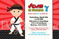 KARATE BOY invitation  you print  3 to by PrettyPartyCreations