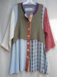 a good reason to raid the second-hand stores or hubby's closet ....Nothing matches tunic top - love the mix of fabrics and the attached vest