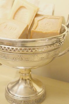 footed sterling compote for luxury soap