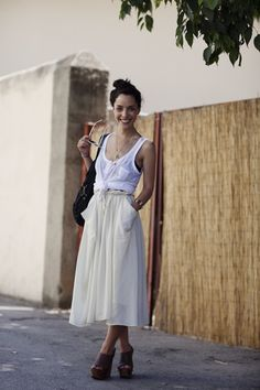 Floral high-waisted skirt // simple tank