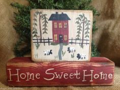 Primitive Country Saltbox House Sheep Home Sweet Home Shelf Sitter Wood Blocks #NaivePrimitive