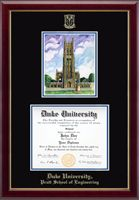 Duke University - Pratt School of Engineering Diploma Frame - Features a beautiful Overly color print of the Duke Chapel. The artwork is presented in a special mat opening above the diploma. This frame features black and royal blue museum-quality matting with gold embossing of your school name and seal. Presented in our Gallery moulding crafted of solid hardwood with a high-gloss lacquer finish and gold inner lip.