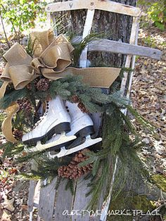 Old fashioned runner sled with ice-skates; outdoor Christmas decor; Christmas greens; do this on front walk by arbor