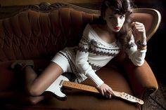 Red lips guitar girl