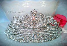 Exquisite Bridal Tiara Crown Pageant Crown Prom Quinceanera Parties Rhinestone Crown Large Crown Royal via Etsy