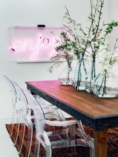 table settings, dining rooms, chair, interior, rustic table, neon signs, wood tables, kitchen, wooden tables