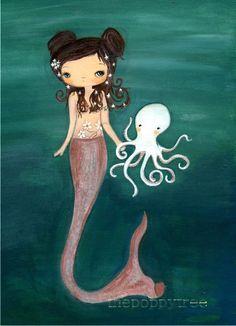 Mermaid Art Octopus Print Nautical Girl Wall Art ---Sea Friends