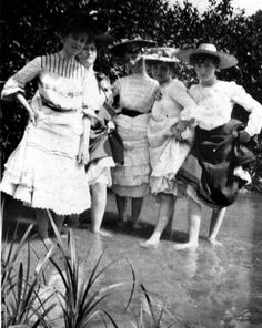 Women getting their feet wet, Pensacola, Florida, 1905