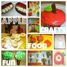 Great apple-theme page full of ideas and resource suggestions. Pre-K-primary ages. The apple coffee filter craft is my fave--and adaptable to other themes; I like the spray bottle idea for the coffee filter (better than dipping).