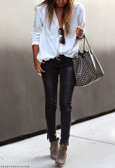 Black denim trousers with white shirt for a casual chic look leather trousers outfit, white shirts, leather pant, black trousers outfit