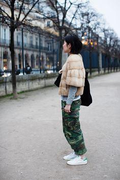street fashion, camo pant, fashion outfits, stan smith, parisian style, fur, fashion inspir, camouflage, style fashion