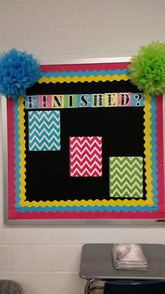 "My ""Finished"" bulletin board for students to go to when they finish their work early. Inside each folder are different vocabulary word searches, grammar puzzles, and related activities."