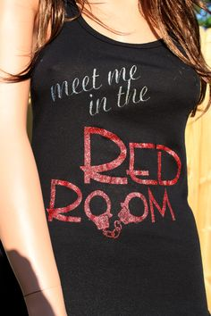 Meet Me In The Red Room Black Fitted Tank with by PurpleMonkeyTees, $14.99